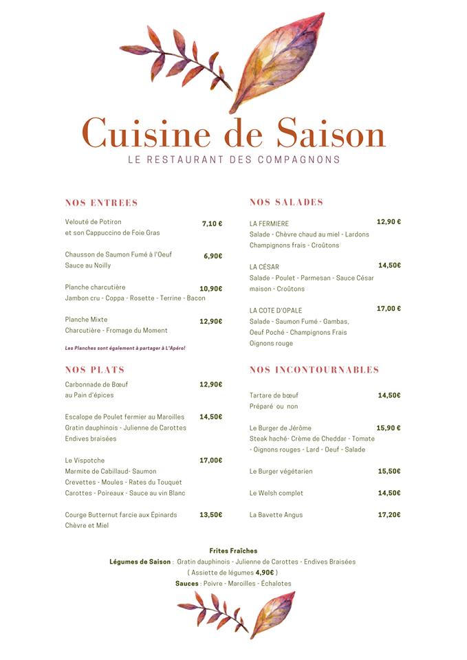 menu de Villeneuve d'Ascq